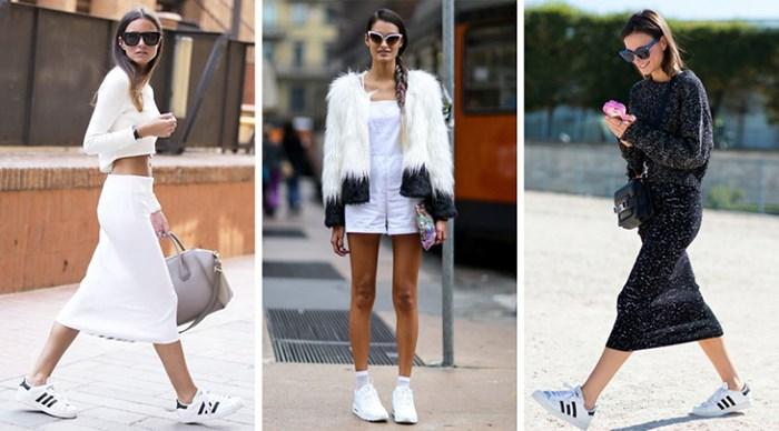 С чем носить белые кроссовки зимой, весной и летом
